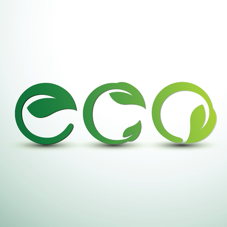 Eco text with leaves for Save Ecology Friendly concept,vector illustration Illustration