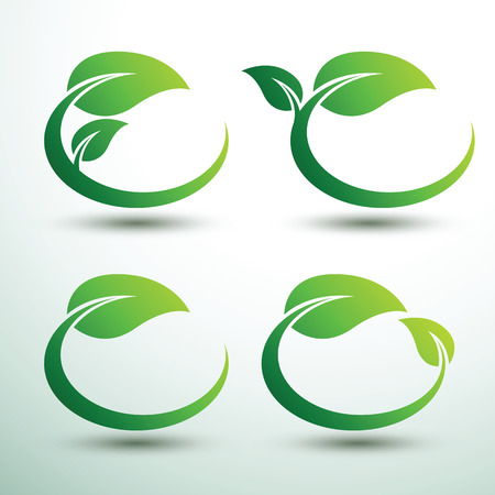 Green labels concept with leaves Oval shape,vector illustration Çizim