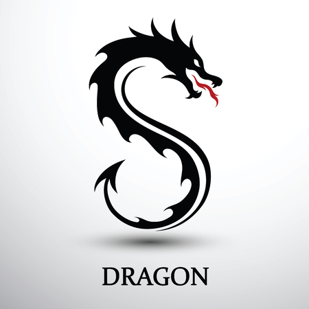 Chinese dragon silhouette flat color logo design, vector illustration Ilustração
