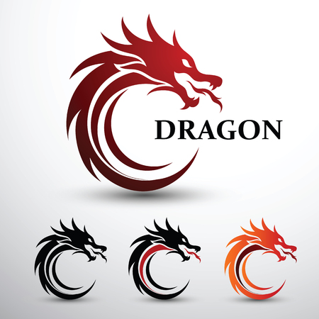 Chinese dragon head silhouette flat color logo design, vector illustration