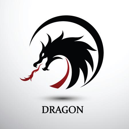 Chinese dragon silhouette flat color design, vector illustration Stock Illustratie