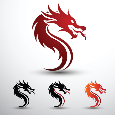 Chinese dragon head silhouette flat color design, vector illustration Иллюстрация