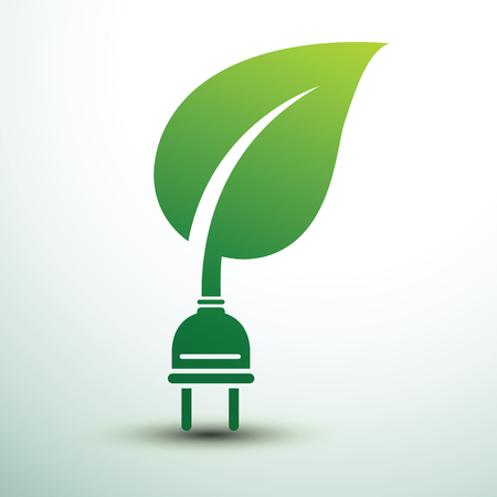 Green eco power plug design with leaf, vector illustration