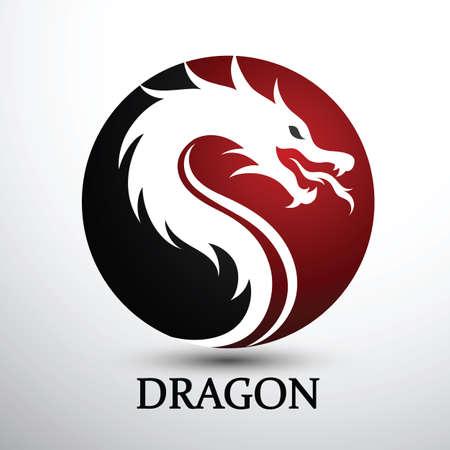 Chinese dragon head silhouette flat color logo design, vector illustration Logo