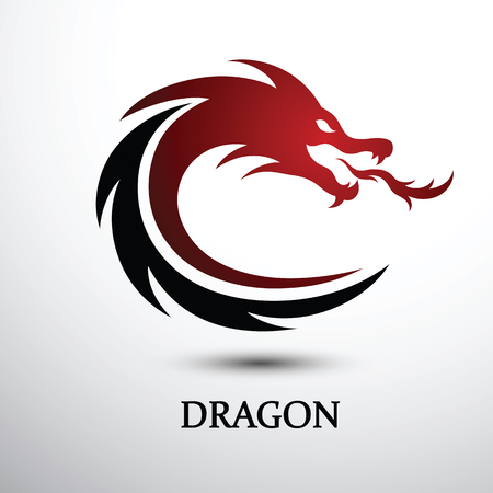 Chinese dragon silhouette flat color logo design Иллюстрация