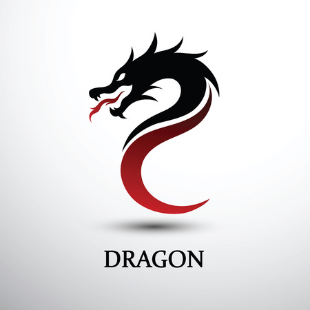 Chinese dragon head silhouette flat color logo design Illustration