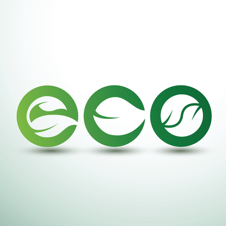 Green eco labels concept with leaves