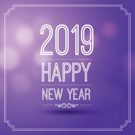 happy new year 2019 in violet bokeh pattern background with vintage frame,vector illustration
