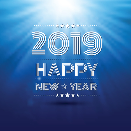 happy new year 2019 in blue glow light pattern background ,vector illustration Illusztráció