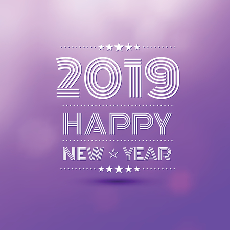 happy new year 2019 in violet bokeh blur pattern background ,vector illustration