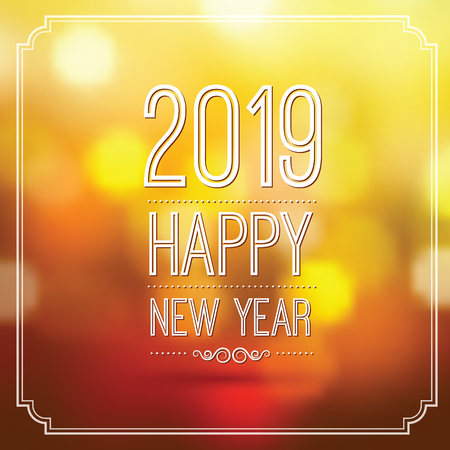 happy new year 2019 in orange bokeh pattern background with vintage frame,vector illustration