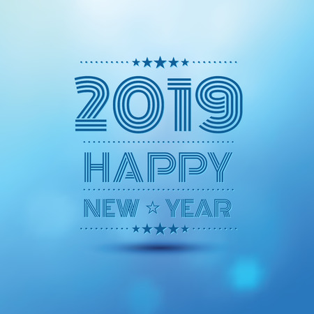 happy new year 2019 in blue bokeh blur pattern background ,vector illustration
