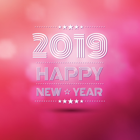 happy new year 2018 in pink bokeh blur pattern background ,vector illustration