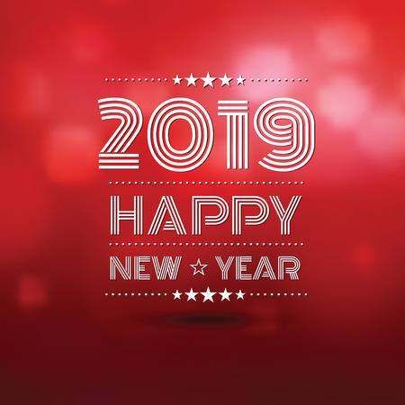 happy new year 2019 in red bokeh blur pattern background ,vector illustration