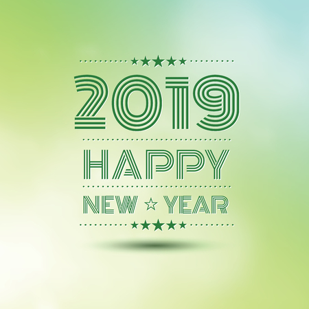 happy new year 2019 in green bokeh pattern background ,vector illustration