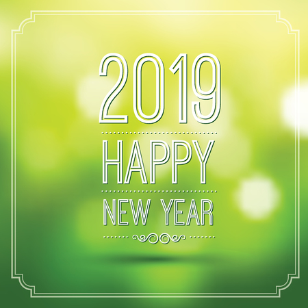 happy new year 2019 in green bokeh pattern background with vintage frame,vector illustration