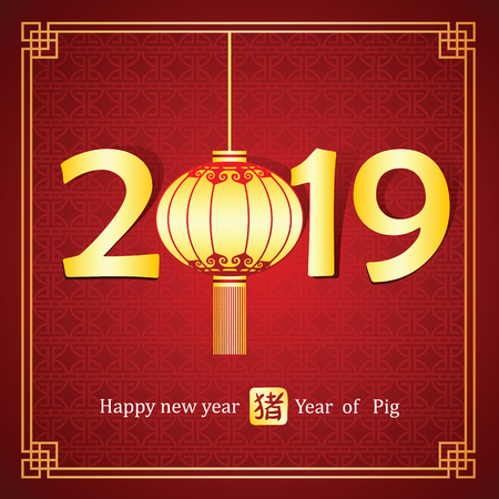Chinese Calligraphy 2019 with lantern ,Chinese calligraphy mean pig,vector illustration Ilustrace