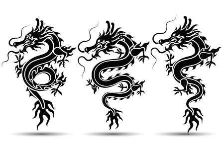 Illustration of Traditional chinese Dragon Chinese character translate dragon,vector illustration Ilustrace