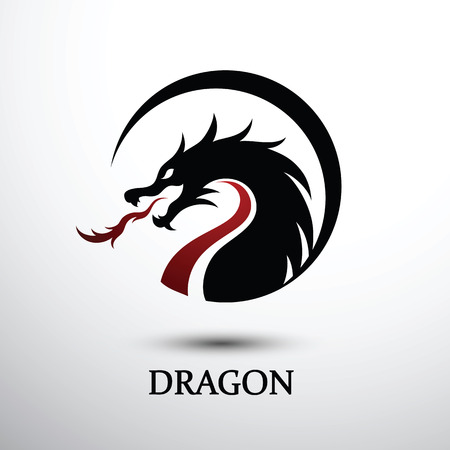Chinese dragon silhouette flat color logo design, vector illustration Ilustrace