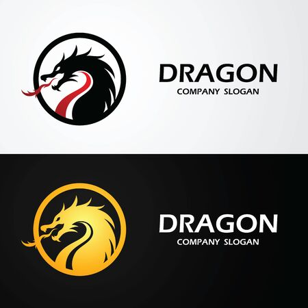 dragon logo template silhouette flat color design, vector illustration Illusztráció