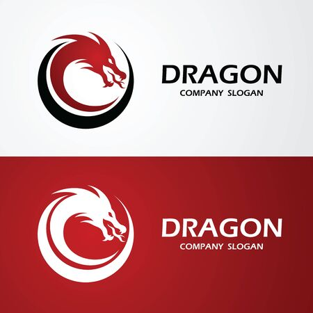 dragon logo template silhouette flat color design, vector illustration Reklamní fotografie - 126643229