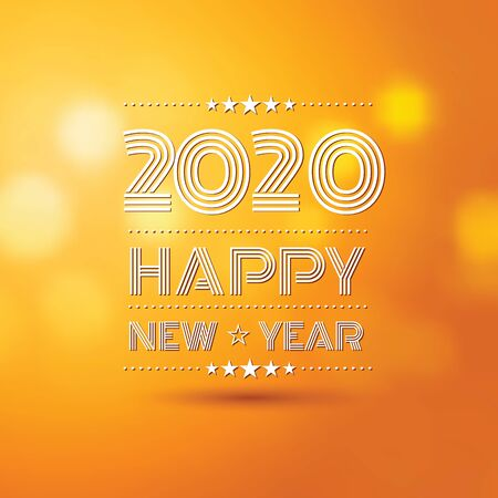happy new year 2020 in orange bokeh pattern background with vintage frame,vector illustration
