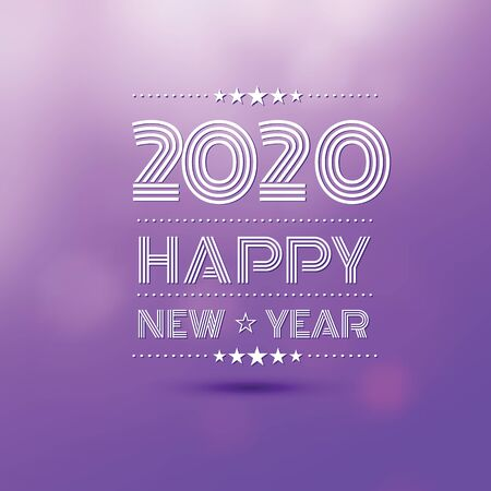 happy new year 2020 in violet bokeh blur pattern background ,vector illustration