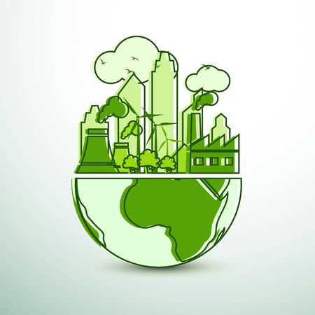 green city with green Eco Earth concept ,vector illustration Ilustração