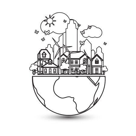 green city with green Eco Earth concept ,vector illustration Ilustração