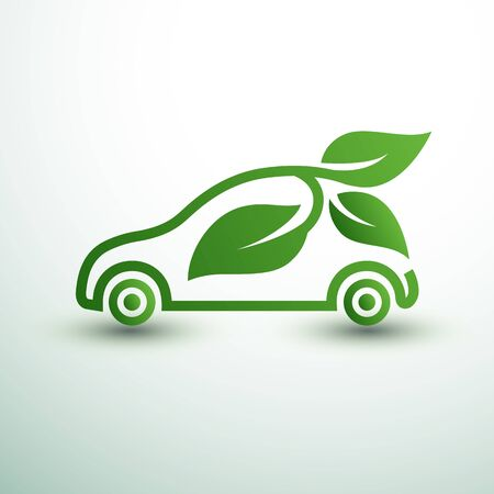 Eco car concept green drive with leaf symbol,vector illustration Stock Vector - 143400534