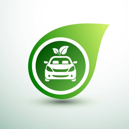 Eco car concept green drive with leaf symbol,vector illustration Stock Vector - 143400673