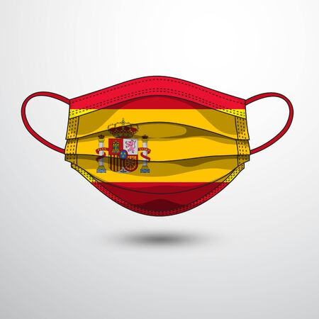 Medical Mask with National Flag of Spain as Icon on White. Protective Mask Virus and Flu. Fight  Coronavirus (2019-nCoV) in Form of flag design