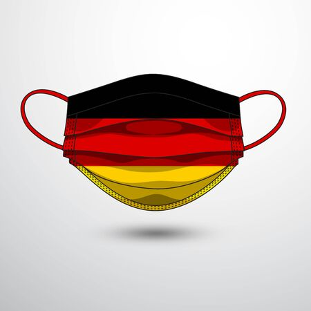 Medical Mask with National Flag of Germany as Icon on White. Protective Mask Virus and Flu. Fight  Coronavirus (2019-nCoV) in Form of flag design