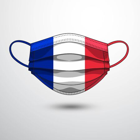 Medical Mask with National Flag of France as Icon on White. Protective Mask Virus and Flu. Fight  Coronavirus (2019-nCoV) in Form of flag design Illustration
