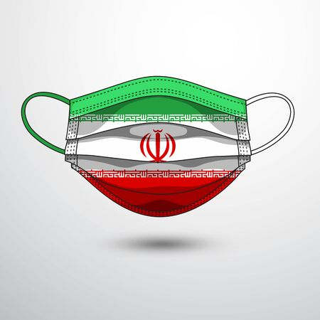 Medical Mask with National Flag of Iran as Icon on White. Protective Mask Virus and Flu. Fight  Coronavirus (2019-nCoV) in Form of flag design