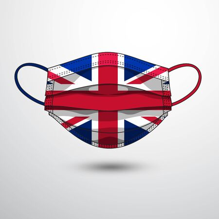 Medical Mask with National Flag of United Kingdom as Icon on White. Protective Mask Virus and Flu. Fight  Coronavirus (2019-nCoV) in Form of flag design