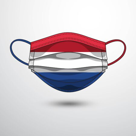 Medical Mask with National Flag of Netherlands as Icon on White. Protective Mask Virus and Flu. Fight  Coronavirus (2019-nCoV) in Form of flag design
