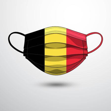 Medical Mask with National Flag of Belgium as Icon on White. Protective Mask Virus and Flu. Fight  Coronavirus (2019-nCoV) in Form of flag design