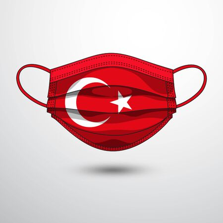 Medical Mask with National Flag of Turkey as Icon on White. Protective Mask Virus and Flu. Fight  Coronavirus (2019-nCoV) in Form of flag design Illustration