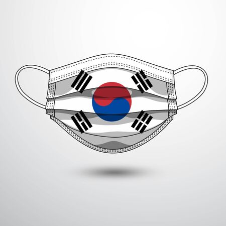 Medical Mask with National Flag of Korea as Icon on White. Protective Mask Virus and Flu. Fight  Coronavirus (2019-nCoV) in Form of flag design Illustration
