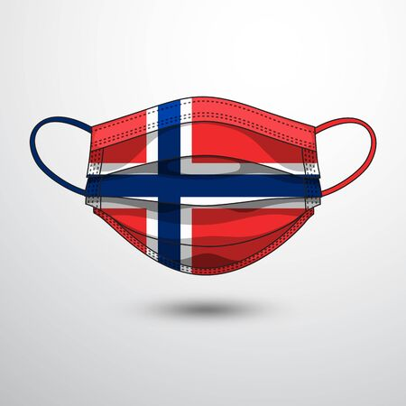 Medical Mask with National Flag of Norway as Icon on White. Protective Mask Virus and Flu. Fight  Coronavirus (2019-nCoV) in Form of flag design