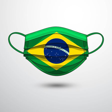 Medical Mask with National Flag of Brazil as Icon on White. Protective Mask Virus and Flu. Fight  Coronavirus (2019-nCoV) in Form of flag design Illustration