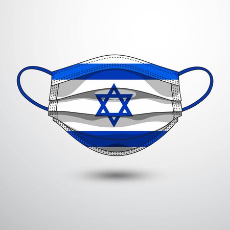 Medical Mask with National Flag of Israel as Icon on White. Protective Mask Virus and Flu. Fight  Coronavirus (2019-nCoV) in Form of flag design
