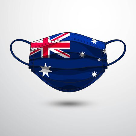 Medical Mask with National Flag of Australia as Icon on White. Protective Mask Virus and Flu. Fight  Coronavirus (2019-nCoV) in Form of flag design Illustration