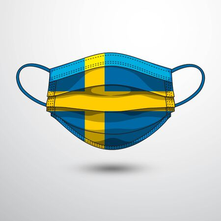 Medical Mask with National Flag of Sweden as Icon on White. Protective Mask Virus and Flu. Fight  Coronavirus (2019-nCoV) in Form of flag design