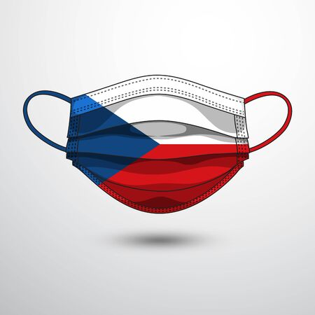 Medical Mask with National Flag of Czechia as Icon on White. Protective Mask Virus and Flu. Fight  Coronavirus (2019-nCoV) in Form of flag design