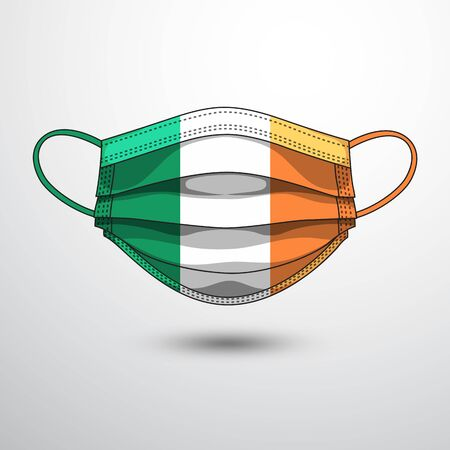 Medical Mask with National Flag of Ireland as Icon on White. Protective Mask Virus and Flu. Fight  Coronavirus (2019-nCoV) in Form of flag design Illustration