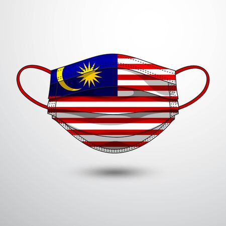 Medical Mask with National Flag of Malaysia as Icon on White. Protective Mask Virus and Flu. Fight  Coronavirus (2019-nCoV) in Form of flag design
