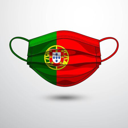 Medical Mask with National Flag of Portugal as Icon on White. Protective Mask Virus and Flu. Fight  Coronavirus (2019-nCoV) in Form of flag design