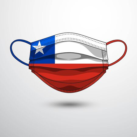 Medical Mask with National Flag of Chile as Icon on White. Protective Mask Virus and Flu. Fight  Coronavirus (2019-nCoV) in Form of flag design